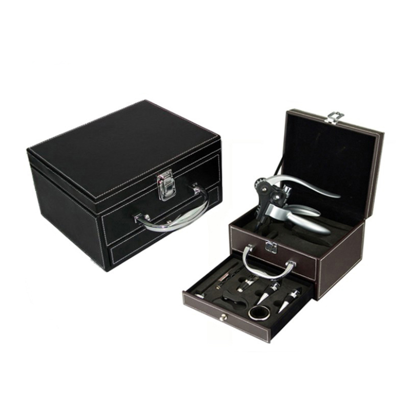 Deluxe Wine Bottle Opener Set Wine Corkscrew Tools Set Bar Accessories In Leather Case With Drawer
