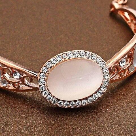 Neoglory Austria Rhinestone & Opal Bangle Rose Gold Color Exquisite Oval Design Vintage Style Women Palace Bracelet Sale Gift Multan