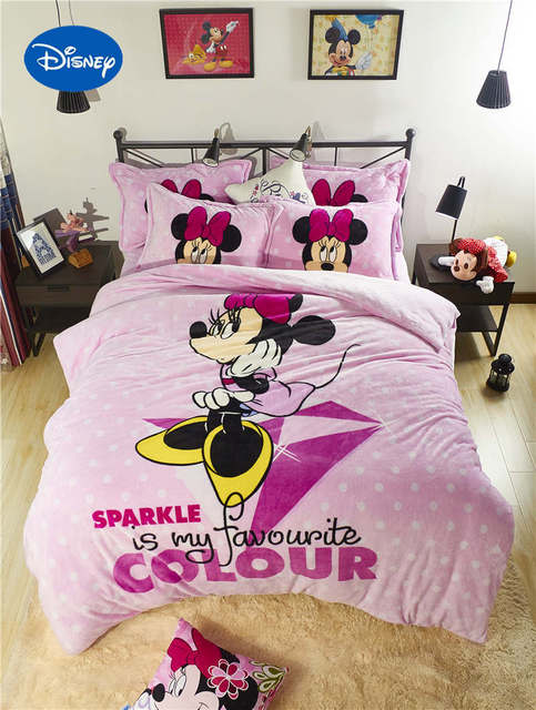 Disney Minnie Mouse Polka Dot 3D Printed Flannel Bedding Set Twin Full  Queen Size Bed Covers