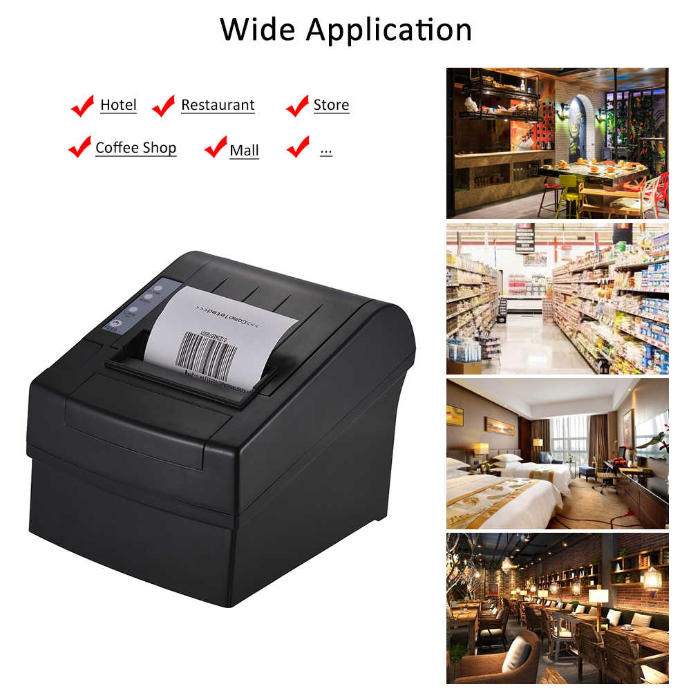 Aibecy Wireless Wifi Thermal Receipt Printer Bluetooth High Speed Printing  Auto Cutter USB Ethernet Port for iOS Android Windows