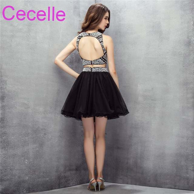 Black Two Pieces Short Cocktail Dresses 2019 Crystals Top Tulle Skirt  Juniors Informal Cocktail Party Dresses aba84b345