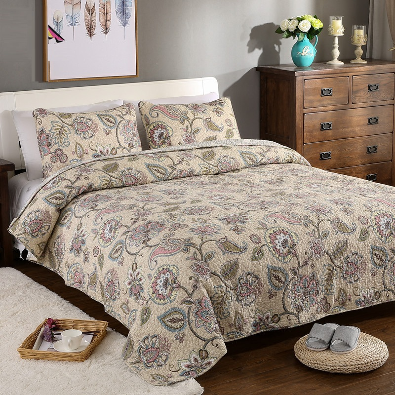 Caleb Reversible Quilt 100% Cotton AB model Bohemian Quilt with Pillowslip for Bedroom three-pieces ...