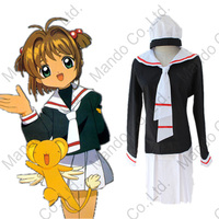 Free shipping Card Captor Sakura costumes Cardcaptor Sakura cosplay costumes sailor suit uniforms (top+skirts+hats+Tie)