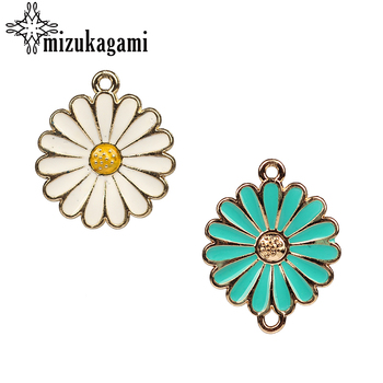 Zinc Alloy Charms Pendant White & Blue Enamel Charms Flowers Connector Charms For DIY Jewelry Making Finding Accessories wholesale 10pcs zinc alloy enamel rainbow charms jewelry pendants diy earrings necklace making accessory mixed charms