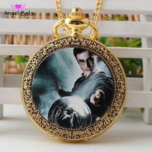 Фотография Fashion Harry Pattern Quartz Pocket Watch Analog Pendant Necklace Mens Womens Watches Gift Drop Shipping
