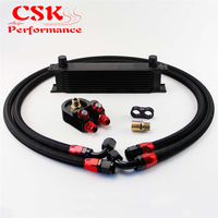 10 ROW AN-10AN UNIVERSAL ENGINE TRANSMISSION OIL COOLER BRITISH TYPE BLACK+ BLACK HOSE END KIT