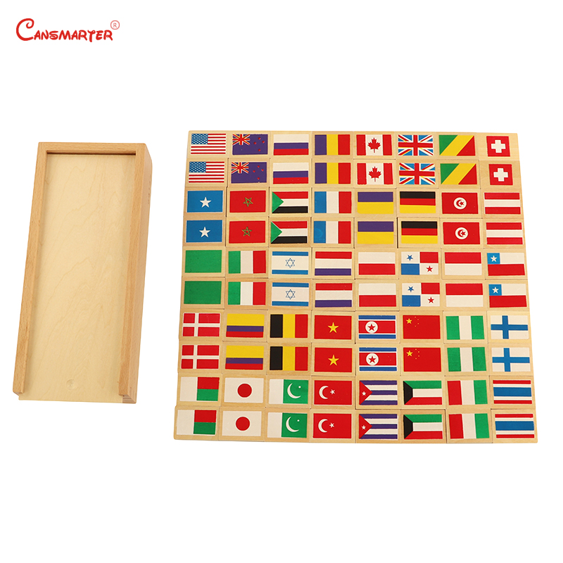 Montessori Flag Domino Boards Teaching Toys Wooden With Chinese Children House Exercise Educational Games GE040-33