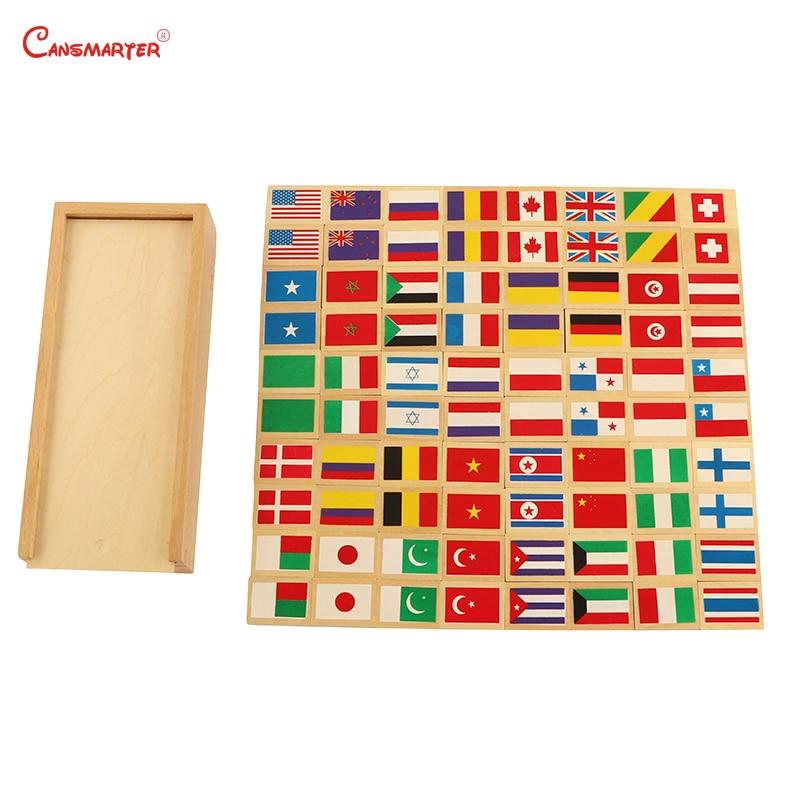 Montessori drapeau Domino planches enseignement jouets en bois avec des enfants chinois maison drapeau exercice jouets éducatifs jeux GE040-33