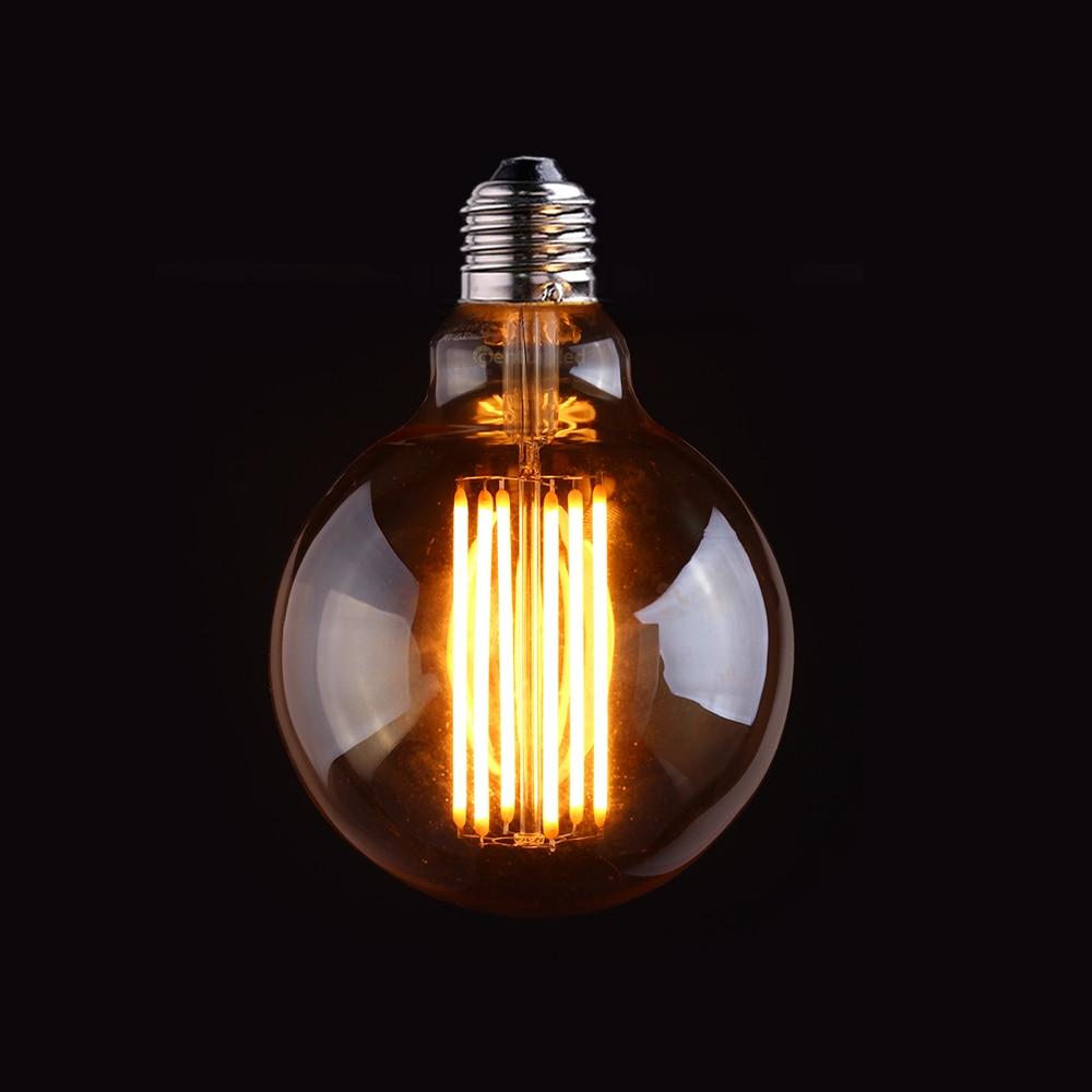 Vintage LED Long Filament Ampoule, Or Teinte, Edison G95 Globe Style, 4 W 6 W 2200 K, Rétro Décoratif Lampe, Peut Être Obscurci