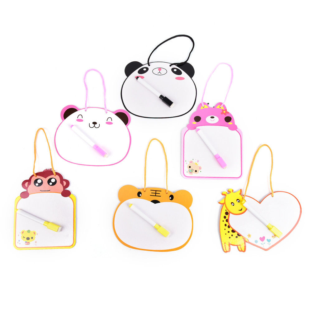 Kids Whiteboard Cartoon Animal One Piece Dry Wipe Cardboard Drawing Kid White Board Hanging With Pen