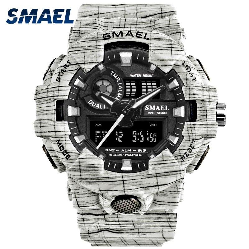 SMAEL Montre Pour Hommes Horloge Blanc Montres Numériques À Double Fuseau horaire Montres 8001 LED Montre Hommes Étanche Hommes Montres Armée Horloge