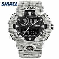 Männer Uhr Wasserdicht SMAEL Sport Uhren Stoppuhr Chronograph Armbanduhren 8001 Uhren Digital Weiß Armband Uhr Geschenk Box