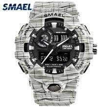 Для мужчин часы белый Dual Time SMAEL Спорт Часы Будильник 8001 Военная Униформа армии наручные часы водонепроницаемые мужские часы relogio masculino