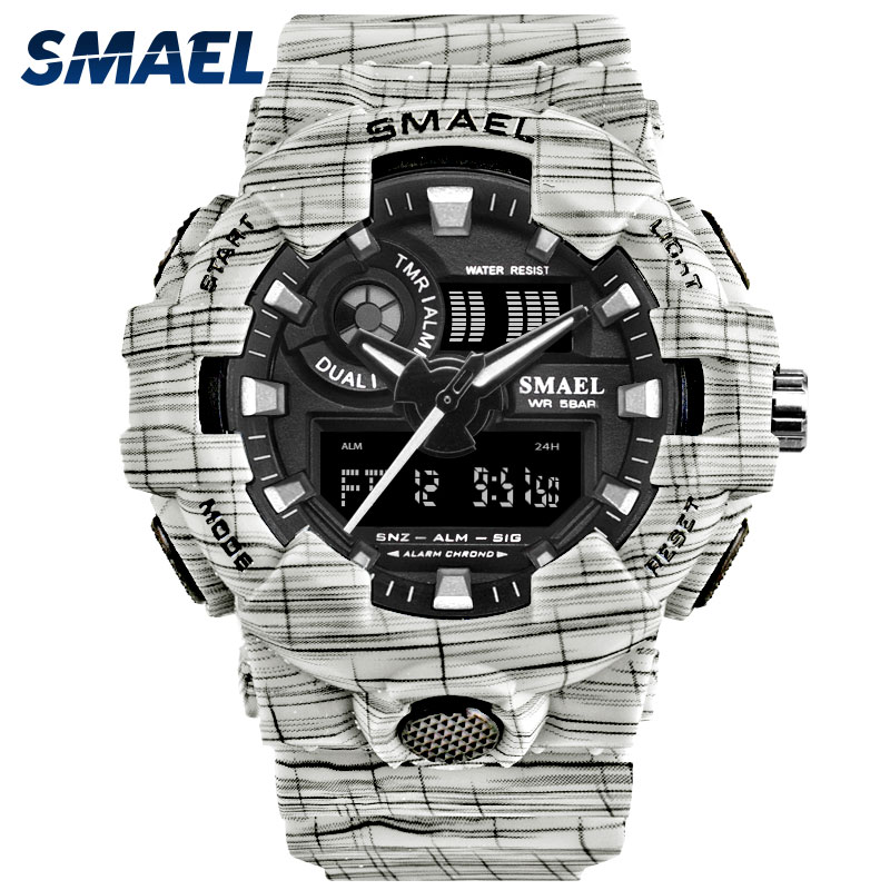 SMAEL Watch For Men Fashionable White Watches Dual Time Digital LED Wristwatch 8001 Watch Men Waterproof Clock Mens Watches Army bewell multifunctional wooden watches men dual time zone digital wristwatch led rectangle dial alarm clock with watch box 021a