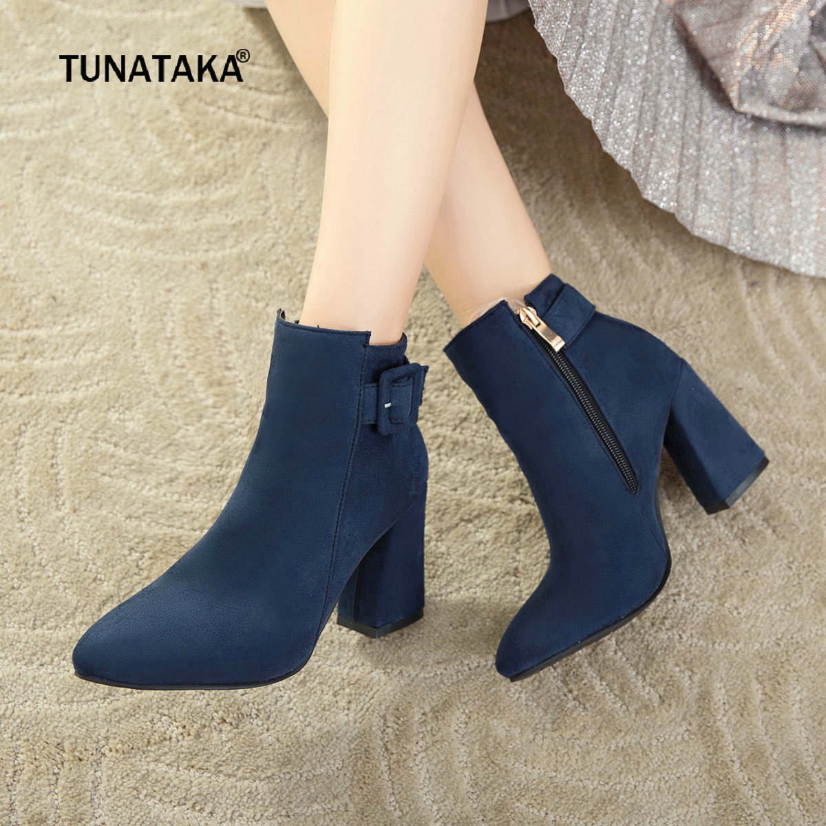 Women Zipper Boots Thick High Heel Ankle Boots Flock Pointed Toe Fashion Boots Winter Plus Size Ladies Shoes Black Blue Yellow autumn winter women thick high heel genuine leather buckle side zipper pointed toe fashion ankle martin boots size 34 39 sxq0902