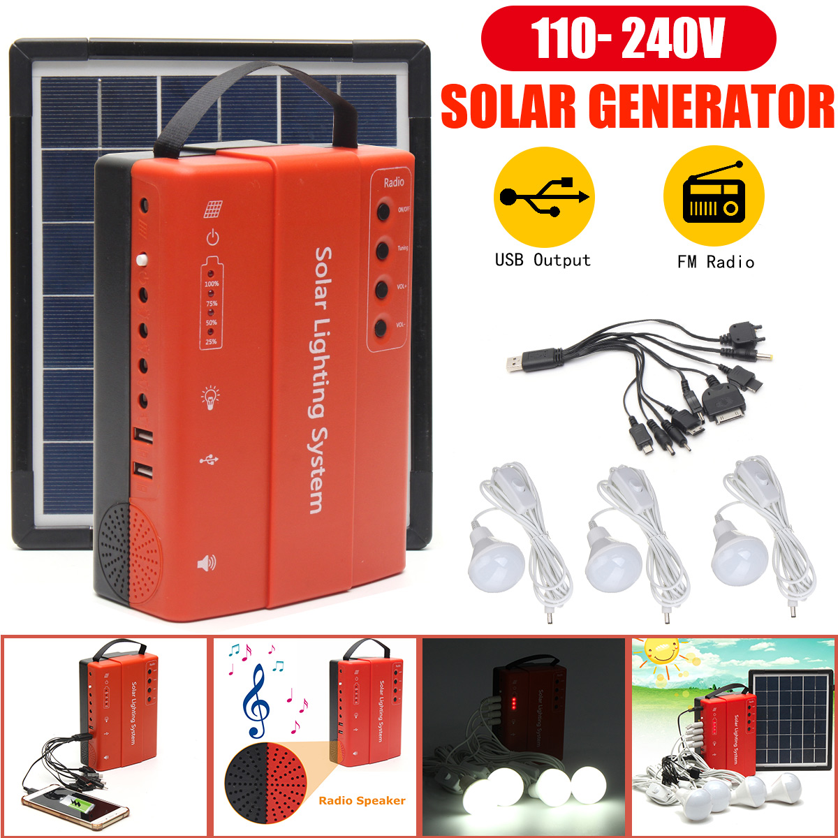 Portable Solar Panel Power Storage Generator LED Light USB Charger Portable Home Outdoor LED Lighting System Support FM Radio portable dc solar panel charging generator power supply board charger radio mp3 flashlight mobile led lighting system outdoor