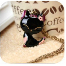 Best Long Chain Colorful Cat Necklace Pendant Cheap