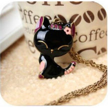 Long Chain 2016 Colorful Cat Necklace Enamel Pendant Charm Brand Jewelry For Women Girl New Animal Gift(China)