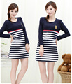 Maternity clothing winter autumn 100% cotton maternity dress long-sleeve fashion stripe plus size casual pregnancy clothing