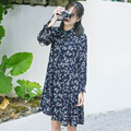 Spring Floral Chiffon Dress Vintage Fresh Dress Long Sleeve Loosely Flounces Floral With Cotton For Ladies Casual Women Dress