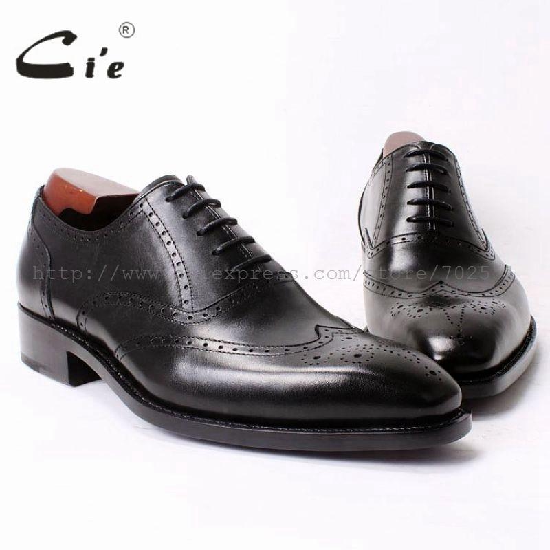 cie Square Toe Full Borgues Wingtips LaceUp Black 100%Genuine Calf Leather Goodyear Men Shoe Bespoke Leather Shoe Handmade OX326