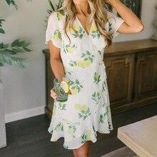цены на Summer dresses casual Mini dress women dress Casual Short Sleeve Lemon Print V Neck National Style Mini Dress T419  в интернет-магазинах