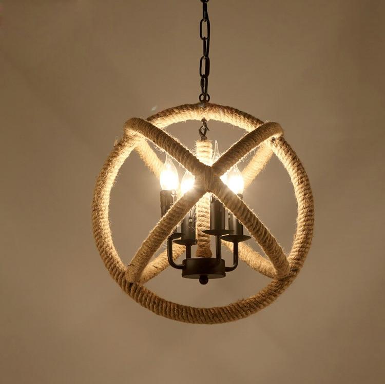 3 Licht Touw Hanglampen Lampen Verlichting Schorsing Armatuur Hang lamp Touw Vintage Lustre Iluminacion