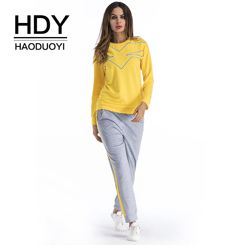 HDY Haoduoyi Casual Sets Women Two Pieces Suits Pullovers and Pants New 2018 Spring Track Suit Tops Female Trousers Sweatshirts