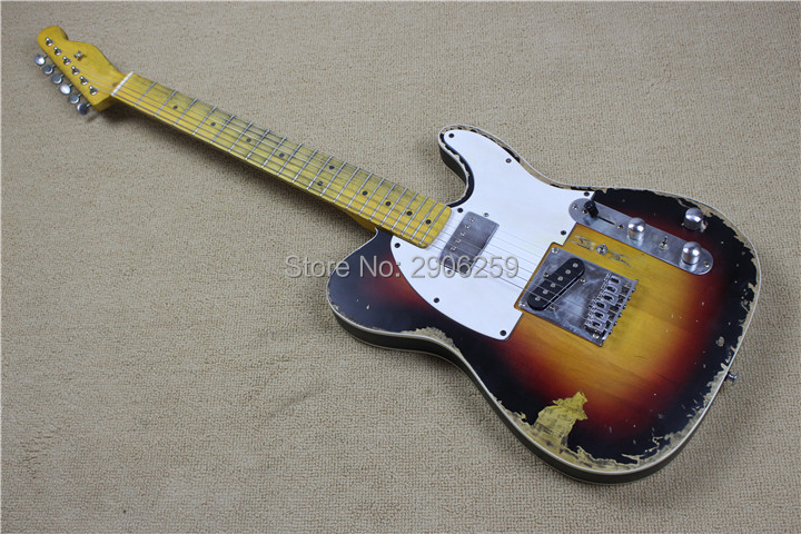 Guitare électrique téléchargée faite main de magasin fait sur commande, version limitée d'andy tele, guitare de TL de relique de construction principale, commutateur de boom, contrôle de H-S