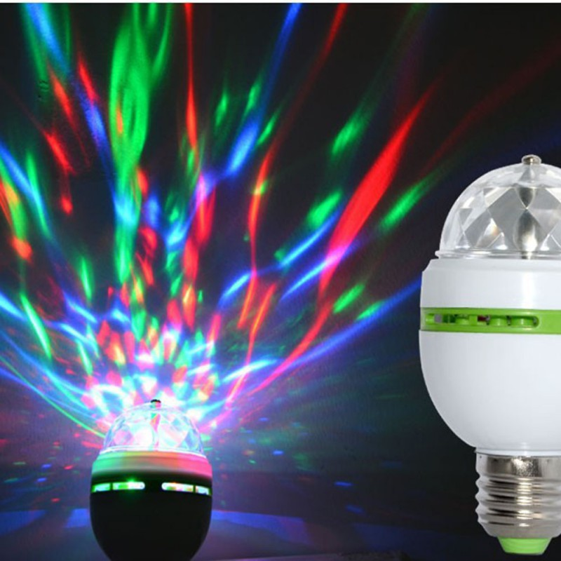 E27 3W Auto Rotating RGB LED Bulb Stage Light Party Lamp Disco for home decoration lighting lamps