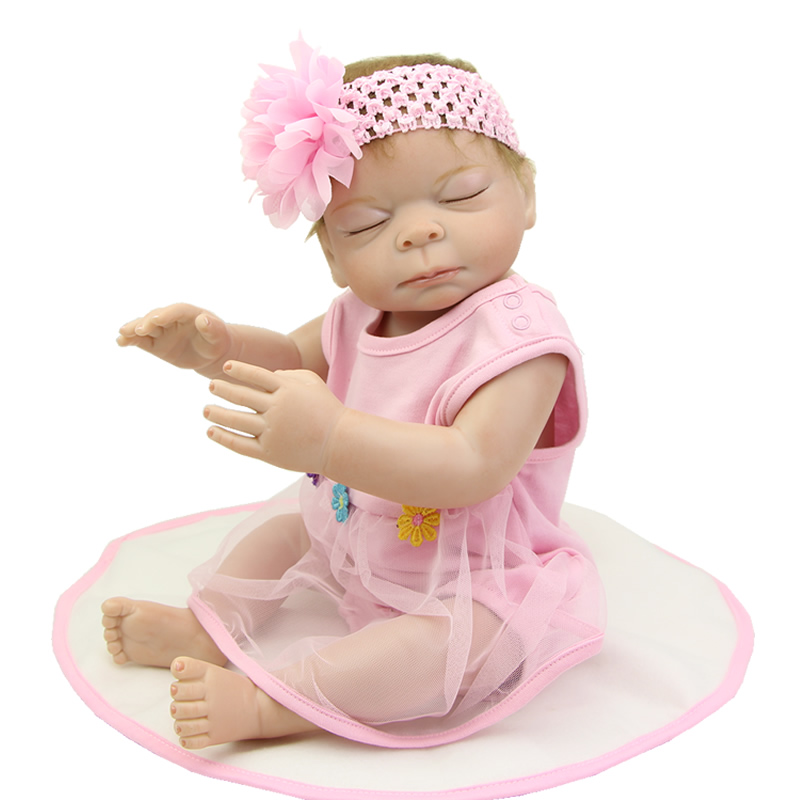 Stylish Baby Doll Reborn Sleeping Lifelike 20 Inch Full Silicone Vinyl Newborn Girl Babies With Pink Dress Kids Playmate sleeping baby doll reborn realistic 20 inch full silicone vinyl lifelike newborn babies girl with dress kids birthday xmas gift