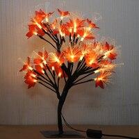 Fairy LED Fiber Optic Maple Tree Light Desk Table Lamp Luminaria Night Light Home Wedding Christmas Bedroom Indoor Decoration