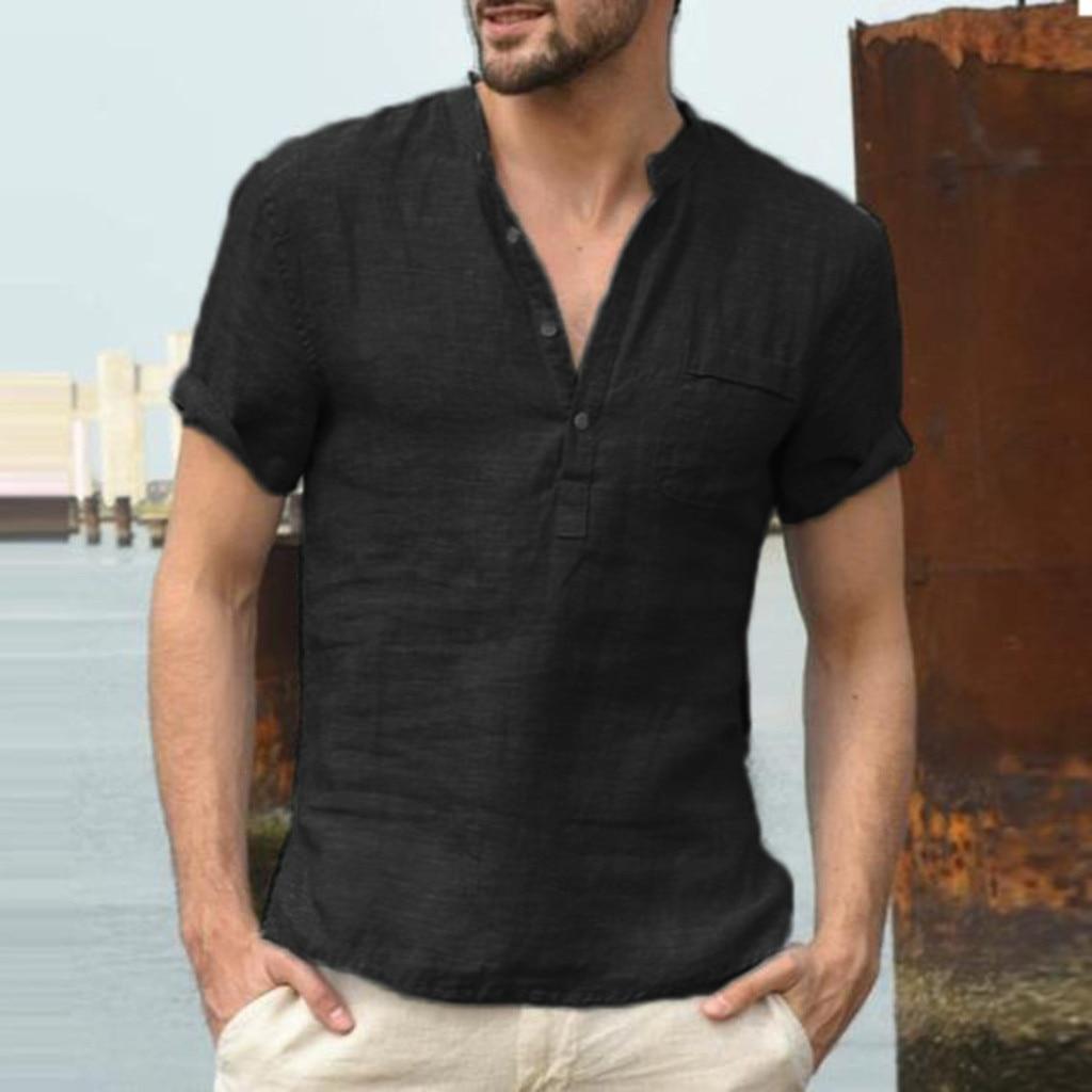 T Shirts for Men Baggy Cotton Linen Soid Color Short Sleeve Retro T Shirts Tops Blouse Casual Summer Fashion c0509