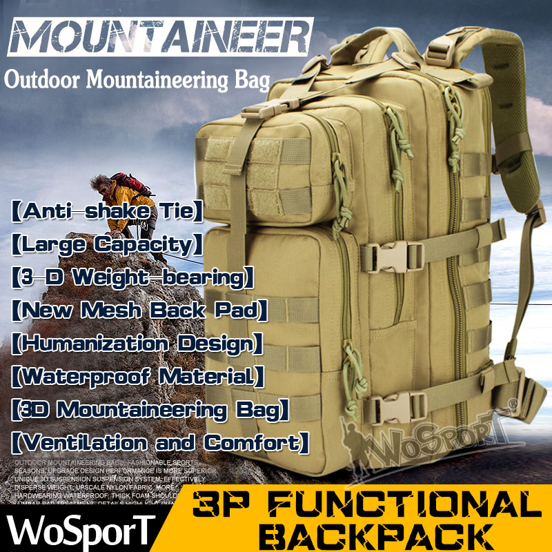ФОТО WoSporT Outdoor Camping Climbing Backpack Hiking Hunting 3P Tactical Nylon Bag Durable Large Capacity Functional Backpack
