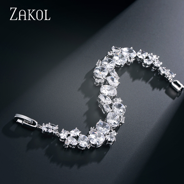 ZAKOL Luxury Oval Cubic Zircon Cluster Blacelet Bangle With Platinum Plated For Girl Party Accessories FSBP133