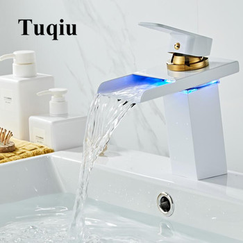 Bathroom Waterfall Faucet LED Faucet White and Gold Brass Basin Faucet. Bathroom Mixer Tap Deck Mounted Basin Sink Mixer Tap