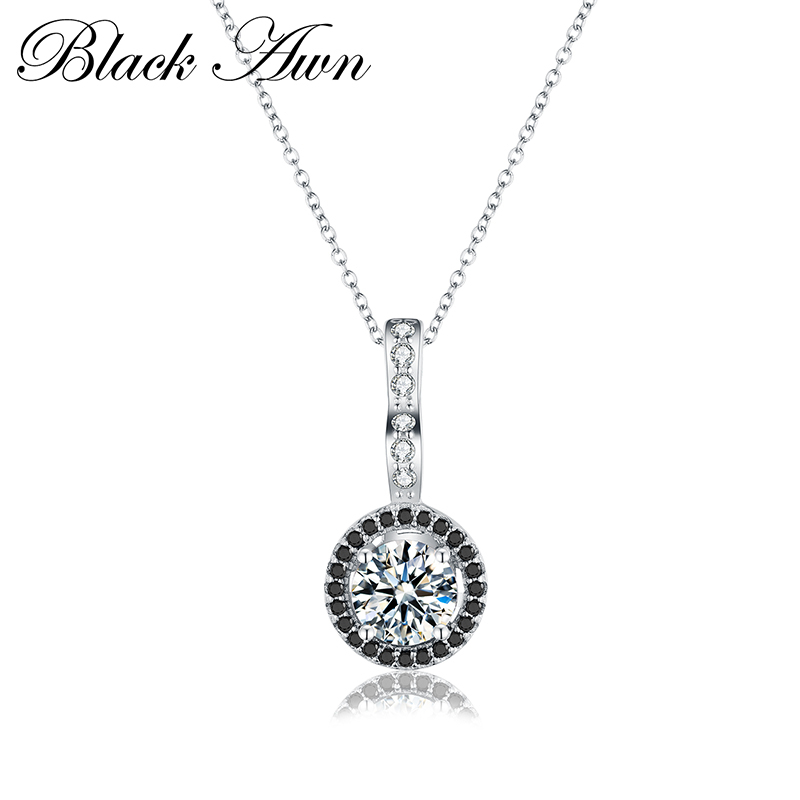 [BLACK AWN] 925 Sterling Silver Jewelry Necklace For Women Female Bijoux Necklaces Pendants P064