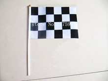 Wholesale good quality polyester race flags with plastic pole 14*21 cm
