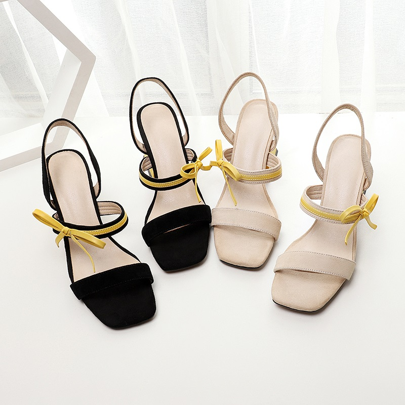 ZVQ shoes woman summer new fashion mixed colors kid suede woman sandals outside black and apricot super high strange style shoes-in High Heels from Shoes    3