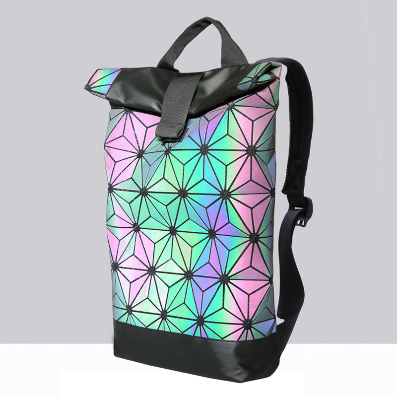 New Bao Bag Backpacks Women Geometric Large Casual Backpack Diamond Lattice School Bag For Teenage Girl Mochila Daily Backpack kaisibo luminous backpack diamond lattice bag travel geometric women fashion bag teenage girl school noctilucent backpack
