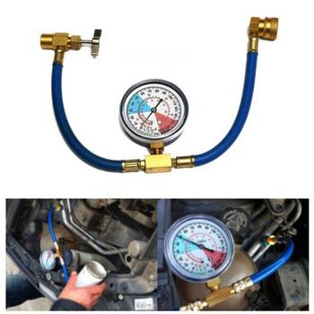 R134A Car Automotive Air Conditioning Refrigerant Hose Detection Supplement Tube Plus Fluoride Tube With Car Pressure Gauge image