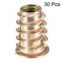 Uxcell 30pcs/lot M8x20 M8x23 Zinc Alloy Threaded Insert Nuts For Wood Flanged Hex Drive Head Nut Furniture