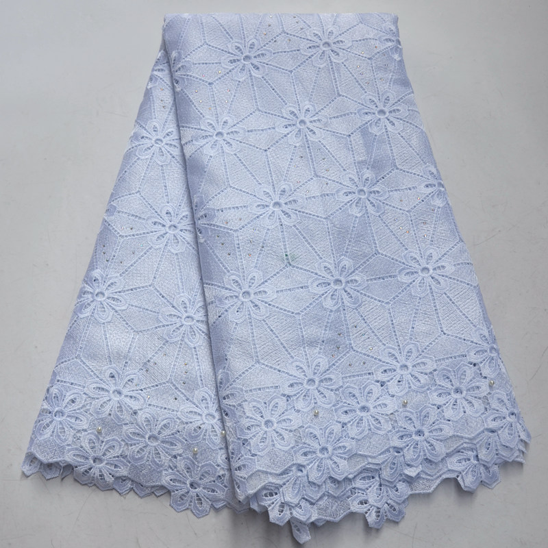 white African lace fabric with beads and stones 2019 latest high quality african guipure lace fabric