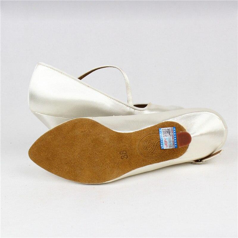 Femmes de Danse Standard BD138 Classique Blanc Satin Dames Salle De Bal chaussures de danse Doux Anti Glissé En Cuir Semelle Haute Talon Profession - 5