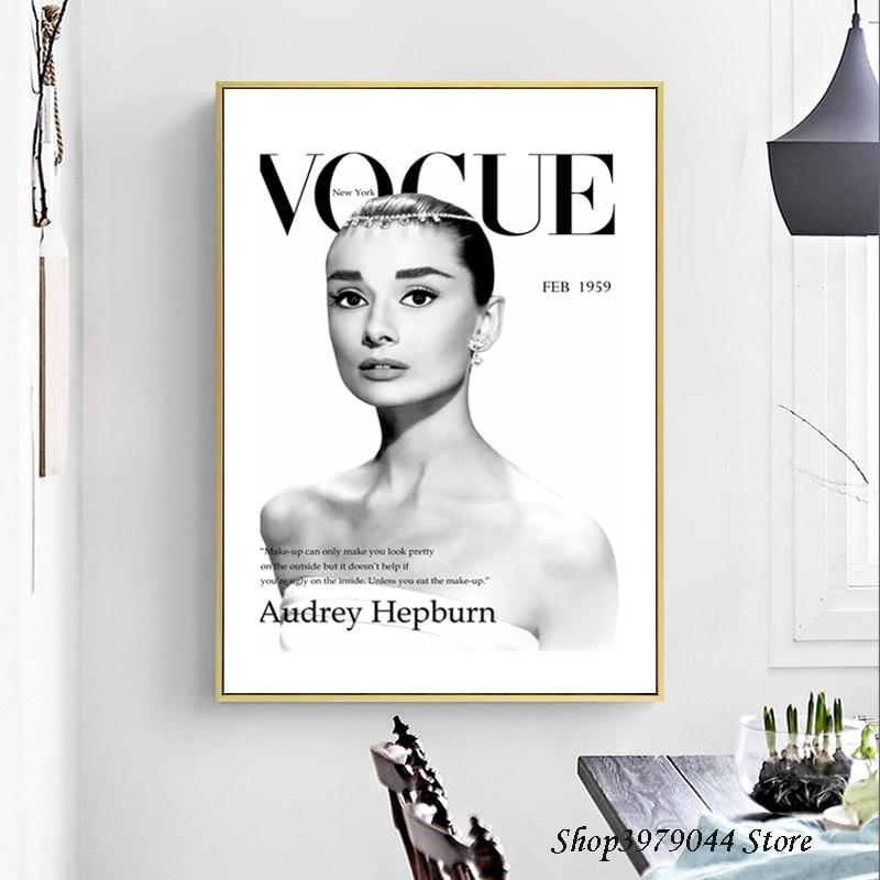 Audrey Hepburn Leinwand Malerei Schwarz Und Weiß Moderne Mode Nordic