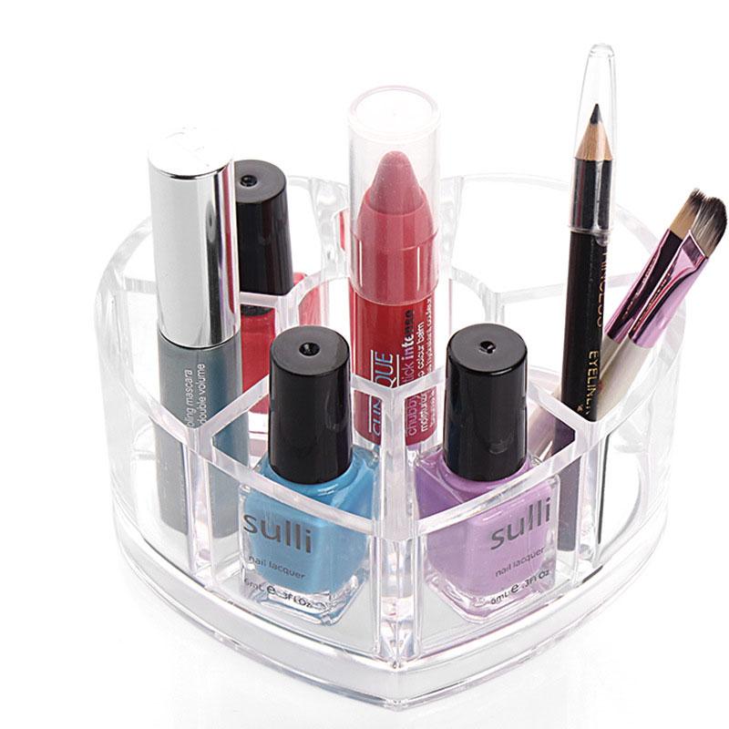 Transparent Love Crystal Storage Box Creative Cosmetic Lipstick Lipstick Desktop Sorting Box Fashion Gifts Makeup Tool Organizer