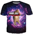 Space Galaxy Fashion Clothing Shirt Summer Style Women Men Tees Shirt Cat Tops
