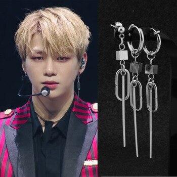 Kang Daniel Oval Strip Pendant Stud Earring