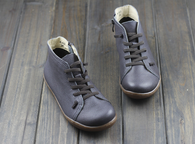 (35-46)Boots Women Shoes Hand-made Genuine Leather Ankle Boots for Women Square toe Zip Ladies Boots Female Footwear (K03) 5