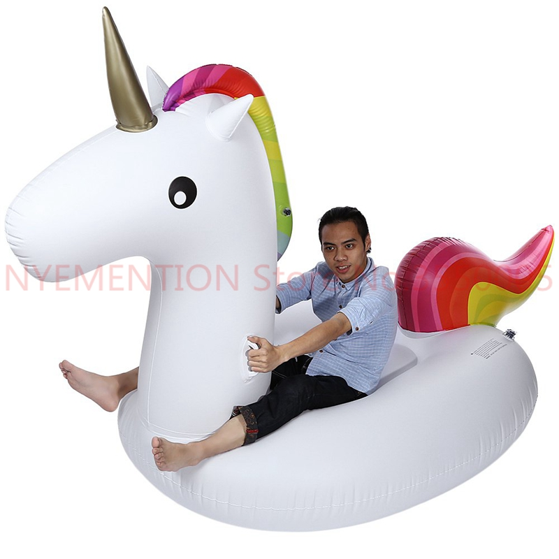 Inflatable Air Garden Sofa Giant Unicorn Floating Rideable Swimming Ring Float Environmentally Summer Water Air Raft 5pcs inflatable air garden beach sofa giant unicorn floating rideable swimming pool float environmentally summer water fun air raft